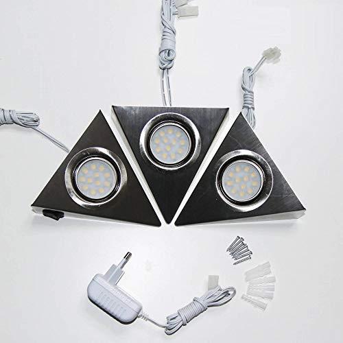 LED Unterbauleuchte 3-fach mit Schalter für Küchenschrank – Dreieck-Design aus Edelstahl – Küchen-Leuchte Küchenlampe Schrankleuchte Dreieckleuchte Küchenleuchte