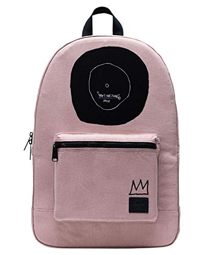 Herschel Jean-Michel Basquiat Now Is The Time Women Backpack Ash Rose 100% Enzyme Washed Cotton Canvas Front Storage Pocket With Organizers and Key Clip Slim Cotton Webbing Shoulder Straps