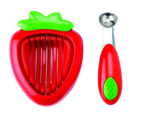 MSC International 87312 Joie Strawberry Hull and Slice, BPA free, FDA approved, 2-Piece Set, Red