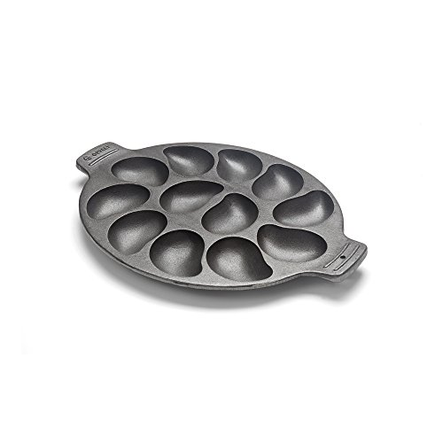 Outset 76225 Cast Iron Oyster Grill Pan, 12 Cavities, Black