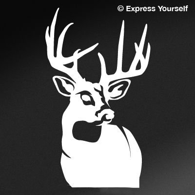 Express Yourself Products Perfect 10 Whitetail Deer (White - Reverse Image - Mini-Set of 10-1.5x1.5 in.-Outline only) Decal Sticker - Big Game Collection - Deer