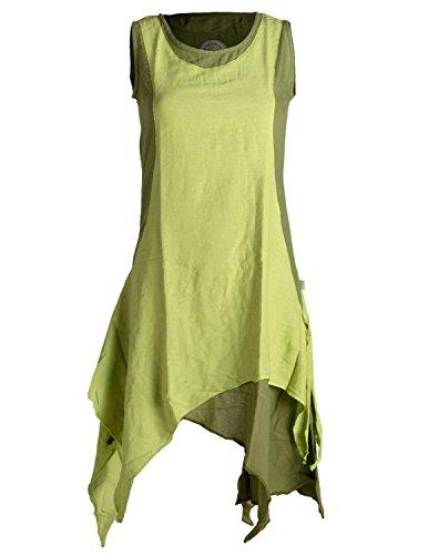 Vishes - Alternative Bekleidung - Ärmelloses Zipfeliges Lagenlook Kleid/Tunika aus handgewebter Baumwolle Olive-hellgrün 46
