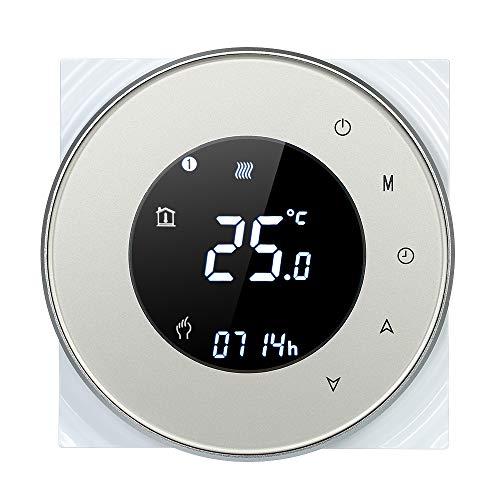 Decdeal Raumthermostat WiFi 16A Programmierbare Runde Touchscreen LCD Display Wandthermostat mit Hintergrundbeleuchtung 0.5 ° C Genauigkeit Sprachsteuerung App Fernbedienung