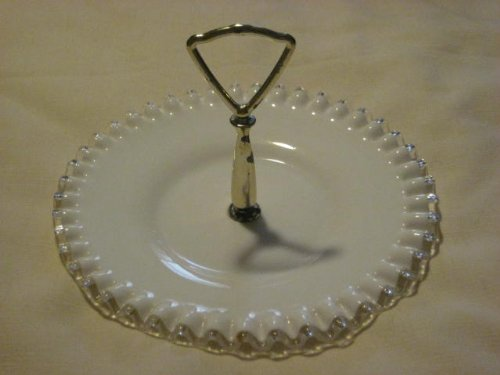 Vintage Fenton Milk Glass Handled Silver Crest / Silvercrest Crimped 8 1/2 Inch Candy Dish