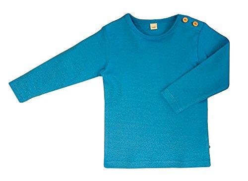 Camiseta de manga larga para bebé, 100% algodón orgánico GOTS para niños, 7 colores (86/92, azul).