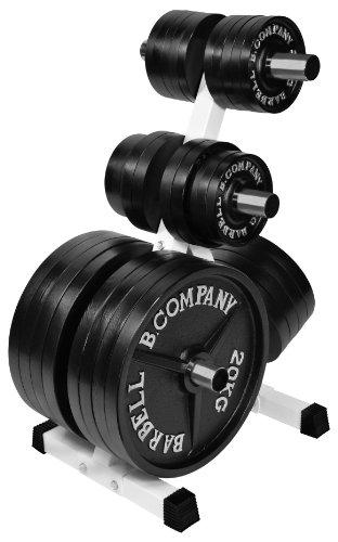 Bad Company Deluxe Hantelscheibenständer I 7 Scheibenaufnahmen für Gewichtsscheiben I Max. Tragkraft 350 Kg – Weiß I BCA-16