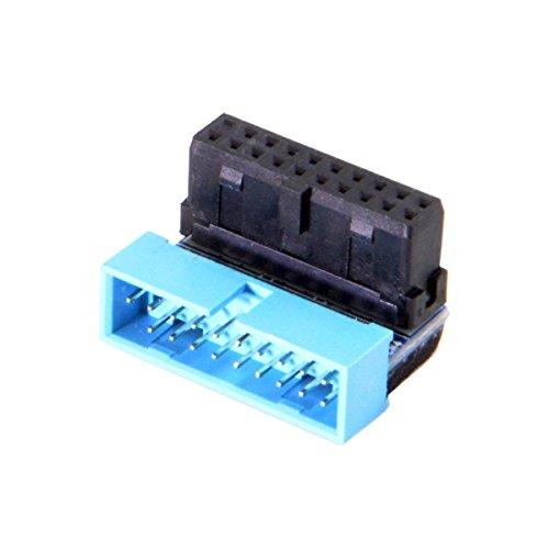 Xiwai USB 3.0 20pin Stecker auf Buchse, Verlängerungsadapter nach unten abgewinkelt, 90 Grad für Motherboard Mainboard