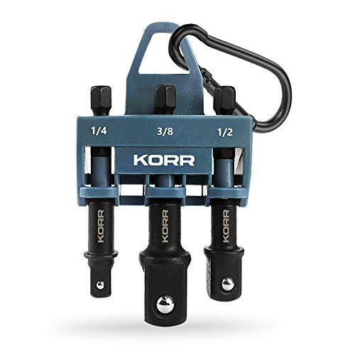 Norske Tools KORR Impact Grade Socket Adapter Set. 3-piece 1/4-inch, 1/2-inch and 3/8-inch for Impact Driver