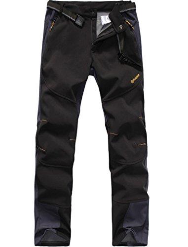 Lakaka - Pantalones de trekking para hombre (tejido softshell, largos, resistentes al agua, secado rápido, para camping, senderismo, trekking), Hombre, negro, EU XL (Tag XXXL)
