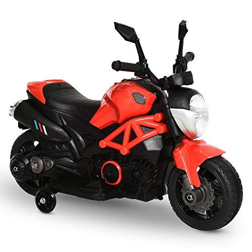 Homcom Moto électrique Enfants 6 V 5 Km/h Max. Marche AV/AR Effets Lumineux et sonore Rouge Noir