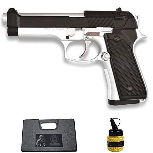 Pistola HFC-118E M92 Mixta (6MM) | Arma Corta de Airsoft (Bolas de plástico) Tipo Beretta 92 + maletín PVC + biberón