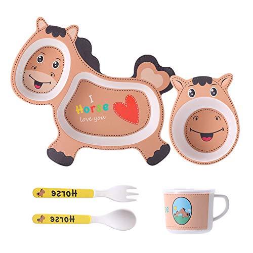 Dlovey Juego De 5 Platos para Cena para Niños, Incluye Plato De Bambú, Cubiertos para Niños Pequeños, Cuenco para Bebés Y Taza/Taza para Niños Vajilla Ecológica