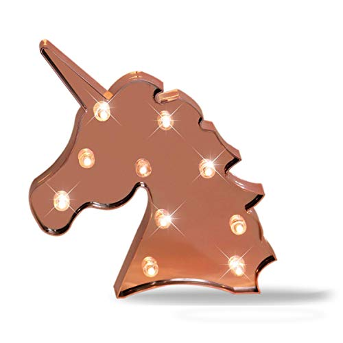 Pooqla Unicorn Decorative Marquee Signs LED Unicorn Night Light for Party Supplies Table Wall Decoration, Kids' Room, Living Room, Bedroom (Unicorn Head - Rose Gold Glitter)