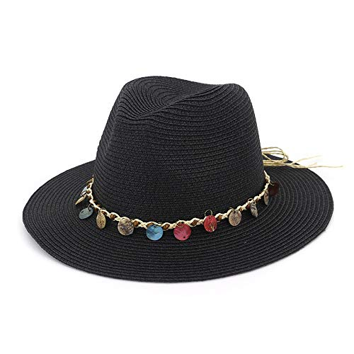 JIANGNANCHUN 2019 Nieuwe zomerhoeden Mannen Vrouwen Straw Hoeden van Panama Solid Plain Wide Brim Beach Hoeden met Band Unisex Fedora zonnehoed (Color : Black, Size : 56-58cm)
