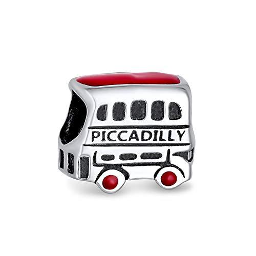 Bling Jewelry Piccadilly Regno Unito Londra Double Decker Bus Cordone di Fascino per Donne Argento 925 Montare Braccialetto Europeo