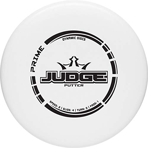 Dynamic Discs Prime Judge Disc Golf Putter | White | 170g Plus | Throwing Frisbee Golf Putter | Great Off of The Tee Box | Stable Disc Golf Flight | Beaded Disc Golf Putter | Stamp Color Will Vary