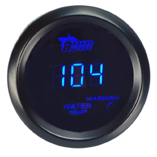 HOTSYSTEM Universal Water Temp Gauge Temperature Meter Electronic Blue Digital LED DC12V 2inches 52mm for Car Automotive(Fahrenheit)