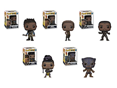 Funko Pop! Marvel: Black Panther Movie Set of 5 - Black Panther, Black Panther Warrior Falls, Shuri, Nakia, and Eric Killmonger