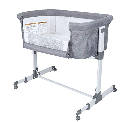 Papablic 2-in-1 Bonni Baby Bassinet & Bedside Sleeper, Grey
