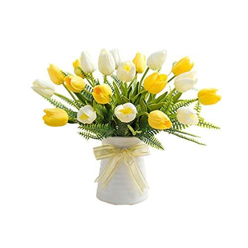 VOSAREA Tulipanes Artificiales de Seda Flores Artificiales Toque Real Flores Falsas Ramo de Boda hogar (Conjunto Amarillo y Blanco)