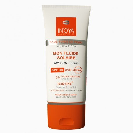 Mon fluide solaire SPF50 SUN'OYA – Peaux noires et mates – Crème solaire SPF50 – Protection solaire pour le visage, sans traces blanches - 50ML