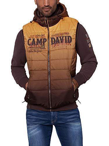 Camp David Herren Steppweste mit Kapuze und Farbverlauf