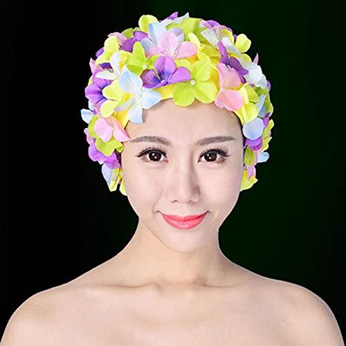 GeKLok Gorro de natación, gorro de natación transpirable para mujer, gorro de natación hecho a mano con pétalos florales estilo retro para deportes acuáticos (multicolor)