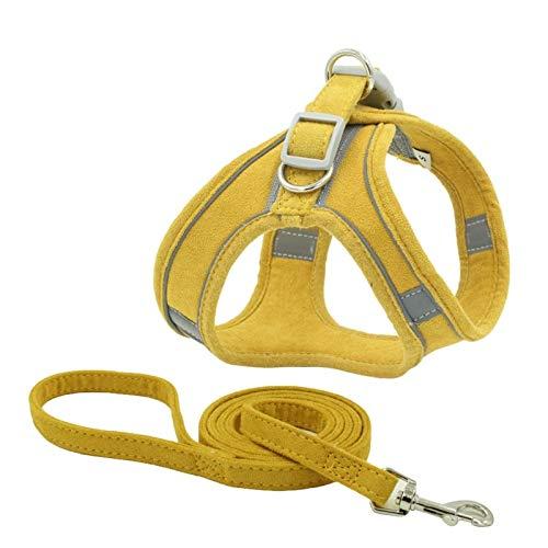 Arnés para Perros Arnés para Perros con Correa Arnés Reflectante Transpirable Ajustable Personalizado para Mascotas para Pequeños Medianos S Amarillo