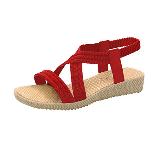 Husmeu Women's Beach Sandals for Women Summer Casual Flat Sandals Cute Elastic Straps Sandals Beach Flat Shoes Red Size 7-7.5