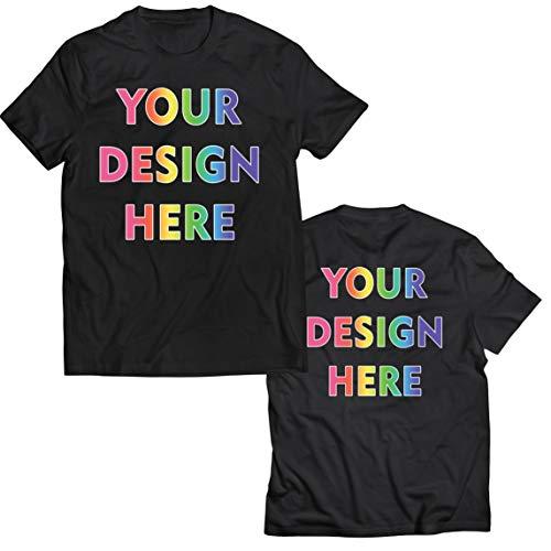 lepni.me Camisetas Hombre Impresión Personalizada de 2 Caras en el Frente y en la Parte Posterior, Texto Personalizado o Diseño de su Propia Imagen (XX-Large Negro Multicolor)