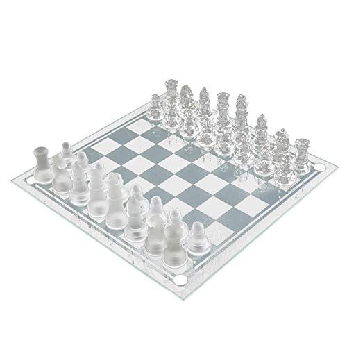 Juego de ajedrez de cristal fino | Diseño inteligente Piezas de ajedrez de vidrio sólido de construcción duradera y tablero de ajedrez de espejo de cristal con fondos de franela para principiantes
