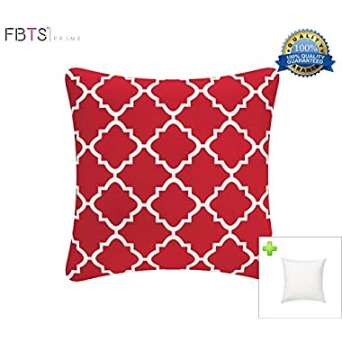 FBTS Prime Outdoor Decorative Pillows with Insert Red Patio Accent Pillows Throw Covers 18x18 inches Square Patio Cushions for Couch Bed Sofa Patio Furniture