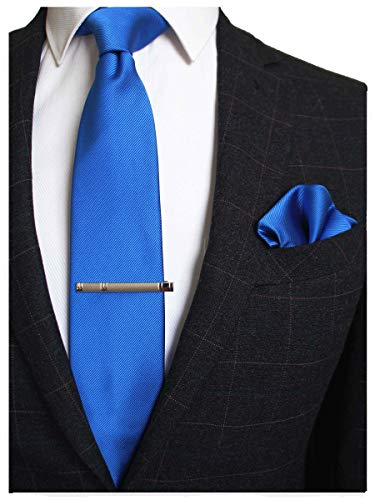 JEMYGINS Blue Formal Necktie and Pocket Square, Hankerchief and Tie Bar Clip Sets for Men