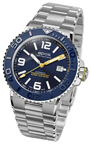 EPOS 3441 Orologio sportivo e subacqueo da uomo automatico, cinturino in...