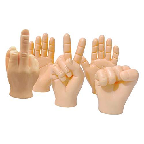 GeKLok 5 piezas de marionetas de dedo mini manos minúsculas manos pequeñas, manos pequeñas romanas e interesantes manos pequeñas accesorios de dedo juegos de broma juguete de fiesta