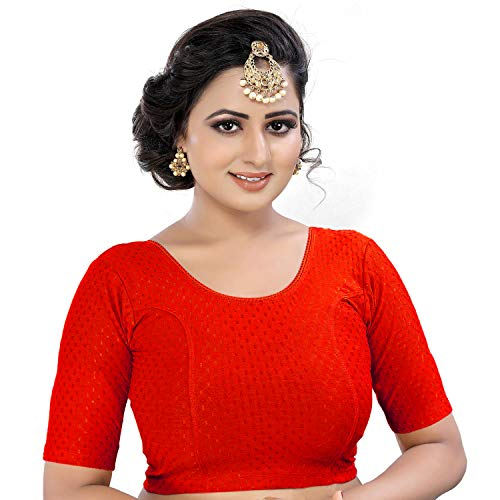 GOGURL Women's Stitched Lycra Saree Blouse Free Size Stretchable Blouse (14 Inch_XL(28TO36)_Red)