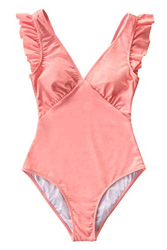 CUPSHE Women's One Piece Swimsuit V Neck Ruched Ruffle Shoulder Swimwear Bathing Suits Pink M