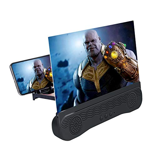 Moozic Lupa de Pantalla para Smartphones con Altavoz - Amplificador de Pantalla - Lupa para teléfono móvil - con Soportes de Apoyo