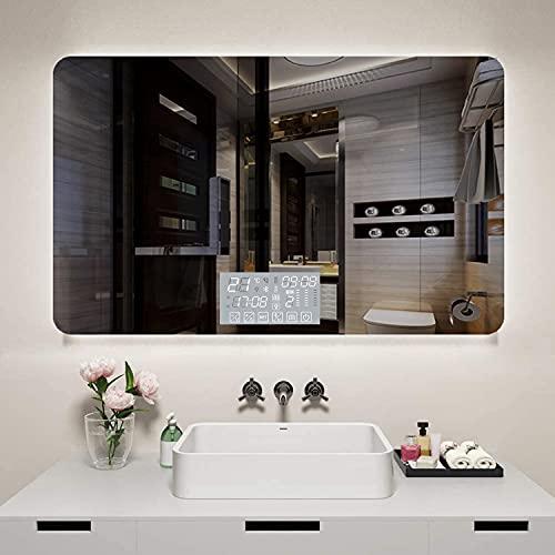 Espejo De Baño LED, Espejo De Pared con Iluminación, Antivaho Interruptor Táctil Espejo de luz con Bluetooth Altavoz Reloj Digital, Función de Atenuación 3000-6500K Espejo De Baño,D,70 * 90cm