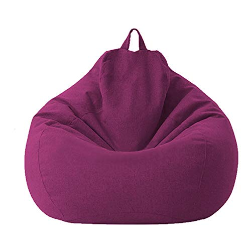 Funda de saco de Haricots – Funda de algodón y lino 100 x 120 cm – Funda de sofá para saco de Haricots con cremallera sin relleno