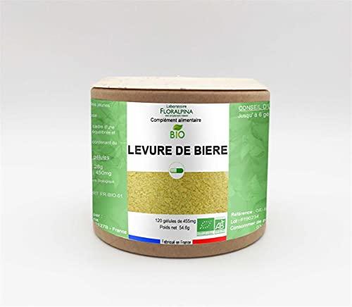 Laboratorio Floralpina – Levadura de cerveza BIO 120 Cápsulas, rico en vitaminas B1, B5, B8, B9 y minerales, cabello y uñas