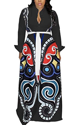 Women's Short Sleeve V Neck Long Maxi Dress Loose African Floral Print A Line Skirt Dresses Plus Size with Pockets Belt