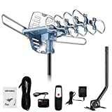 150 Miles Range Amplified Digital Outdoor TV Antenna with Mount Pole 4K/1080p High Reception/ 40feet RG6 Coaxial Cable/360 Degree Rotation Wireless Remote/ Snap On Installation/2 TVs Function