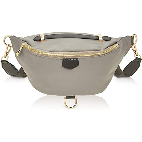 Plus Size Grey Fanny Pack, Unisex Waist Bag with Adjustable Waistband 43-68 In