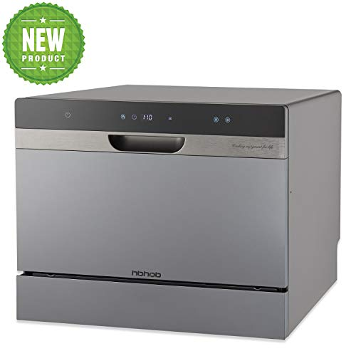 Compact Portable Countertop Dishwasher With Stainless Steel Interior and 6 Place Settings, LED...