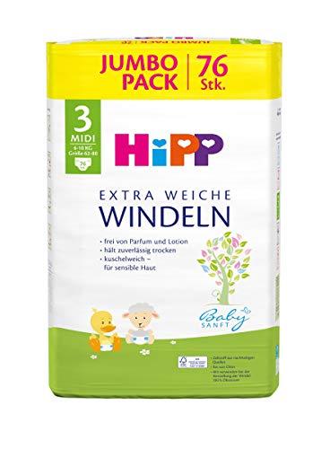 Hipp Babysanft Windeln Carry Midi 3 (6-10kg, Größe 62-80), Jumbo. 2x76 Stück