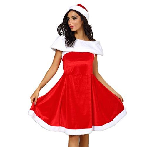 Dasongff Kerstman dames kostuum Miss Santa voor kerstfeest of party, rood