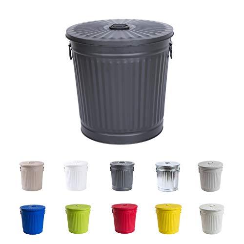 Jinfa Retrodesign Mülleimer mit Deckel | Mattschwarz | Ø 42 cm, Höhe 47,5 cm, 62 Liter