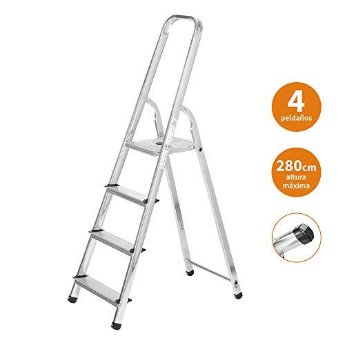 Escaleras Plegables Aluminio 4 Peldaños de Tijera Super Resistente hasta 150Kg, Acero y Aluminio Antideslizantes, Altura de Trabajo hasta 280cm | Packer PRO