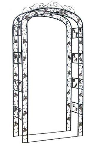 CLP Rosenbogen Metall, 120 cm breit, verziert, Eisen Pulver-beschichtet, handgefertigt, Höhe 240 cm, Tiefe 45 cm Schwarz
